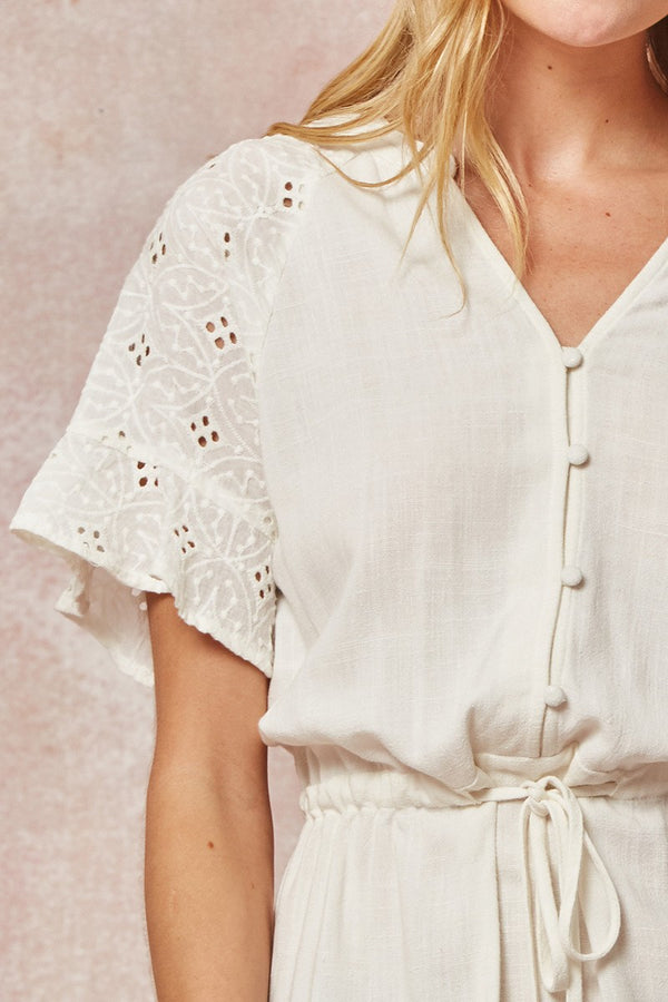 White Eyelet Dress Terra Cotta
