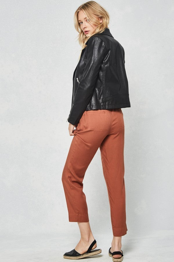 Rust Cropped Tie-Waist Woven Pants