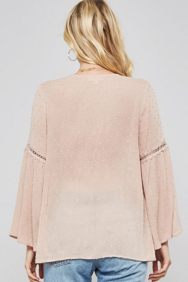 Boho Blush Long Sleeve Lace Blouse back view