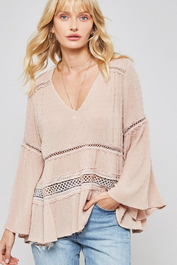 Boho Blush Long Sleeve Lace Blouse front view