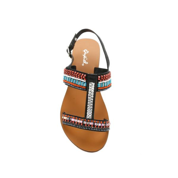 Kenmore Black Genuine Leather Beaded Sandal - Terra Cotta