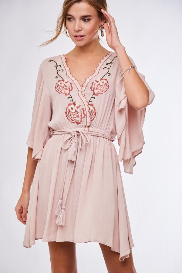 Rose Pink Embroidered Dress - Terra Cotta