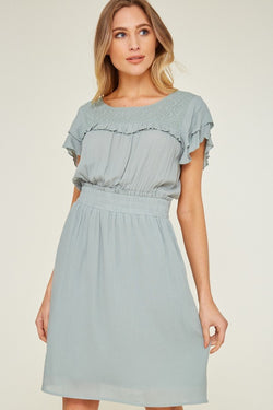 Mint Ruffled Dress - Terra Cotta
