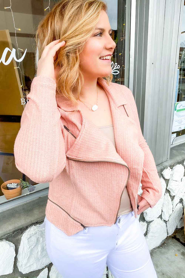 Terra Cotta- Laura Boucle Blush Moto Jacket
