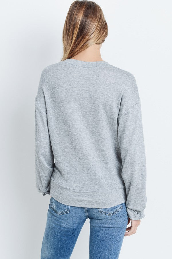 Take It Day By Day Grey Long Sleeve Top