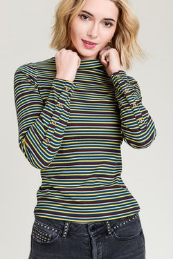 Teal Striped Turtle Neck Top - Terra Cotta
