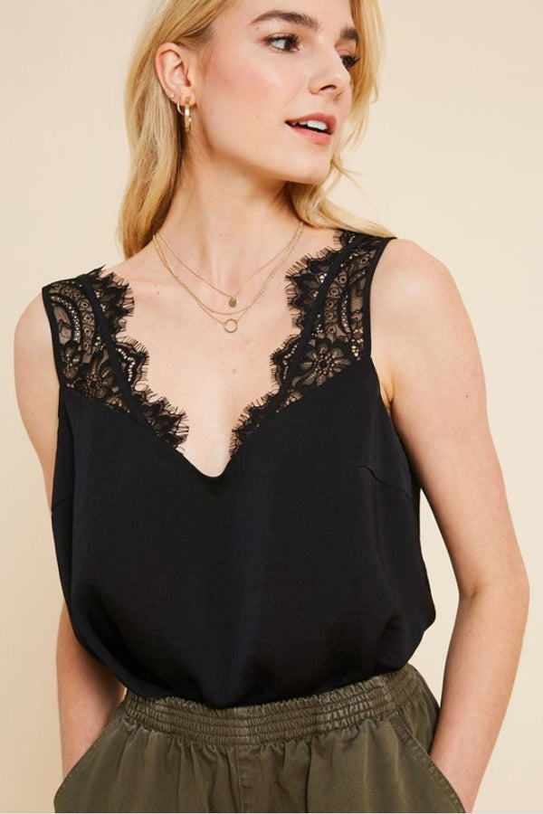 Terra Cotta Lucille Black Lace Satin Cami