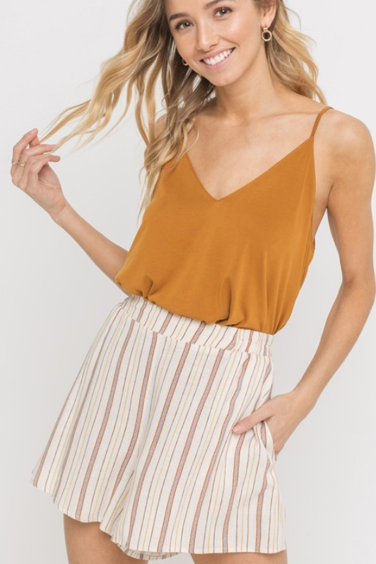 Flirty Striped Shorts - Terra Cotta