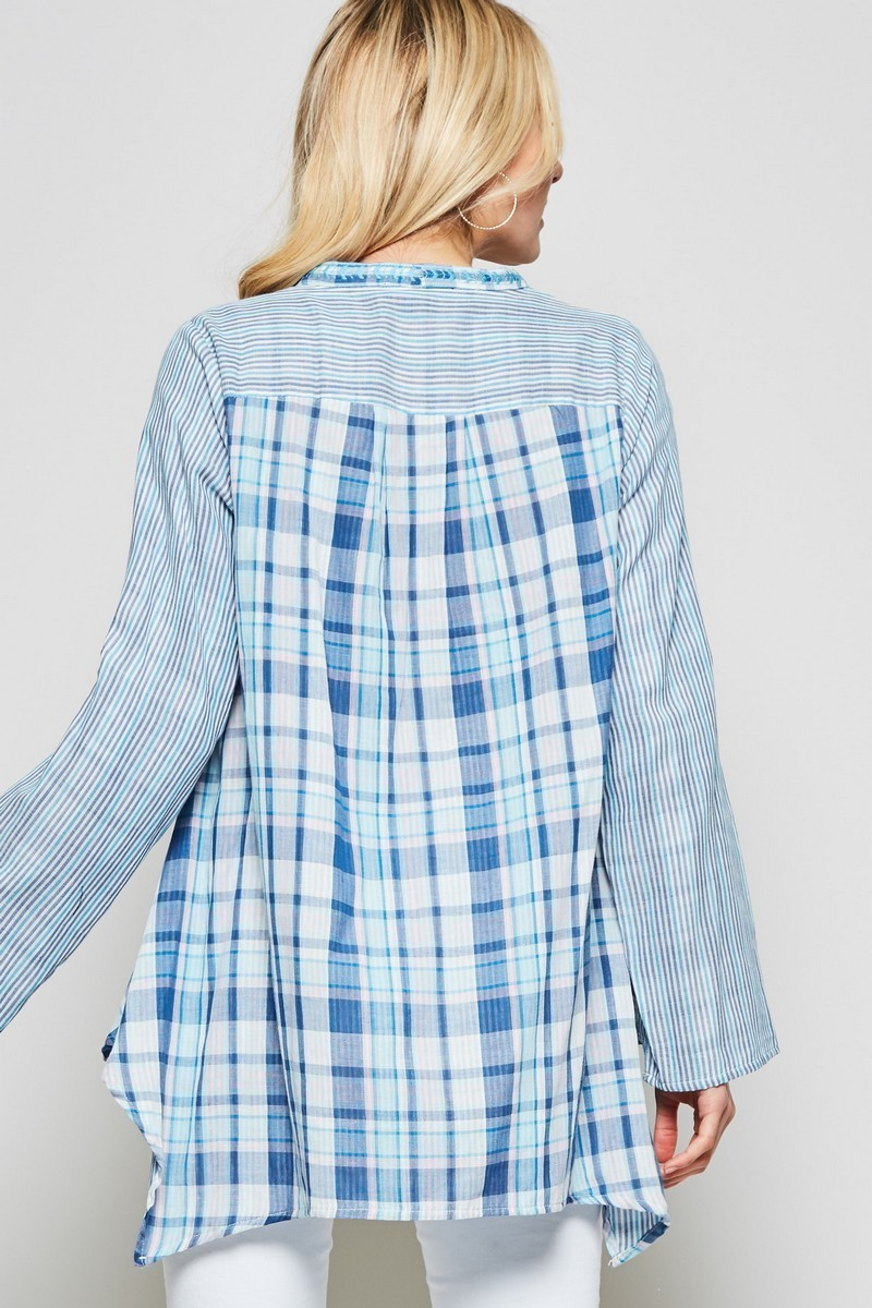 Blue Mixed Plaid Embroidered Tunic