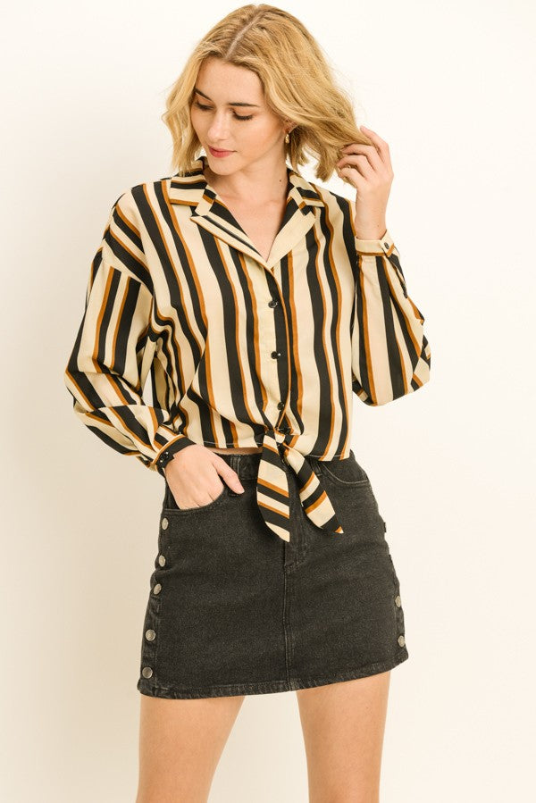 Le Lis Ivory Combo Striped Front Tie Long Sleeve Button Up