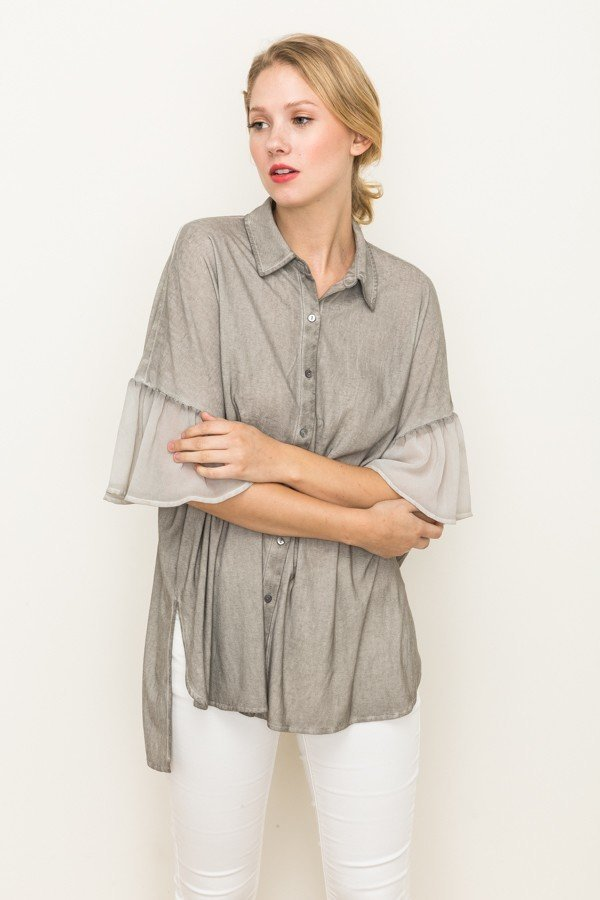 Oversize Button Up Shirt with Chiffon Sleeve