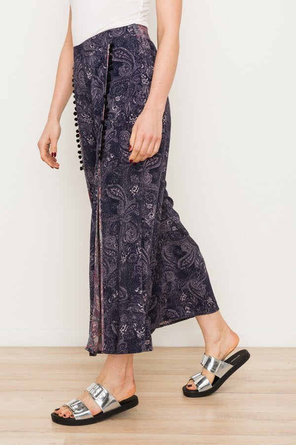 Printed Slit Pant with Pom Pom Detail