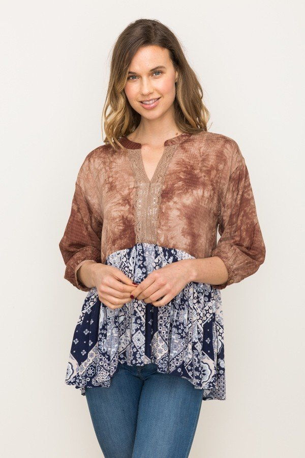 Patterned Baby Doll Blouse