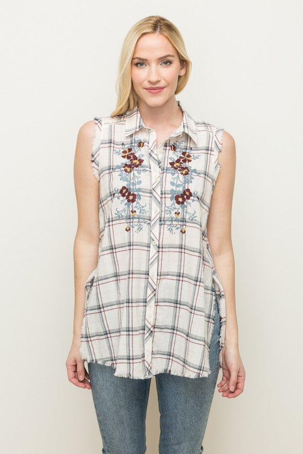Sleeveless Embroidered Button Up Shirt