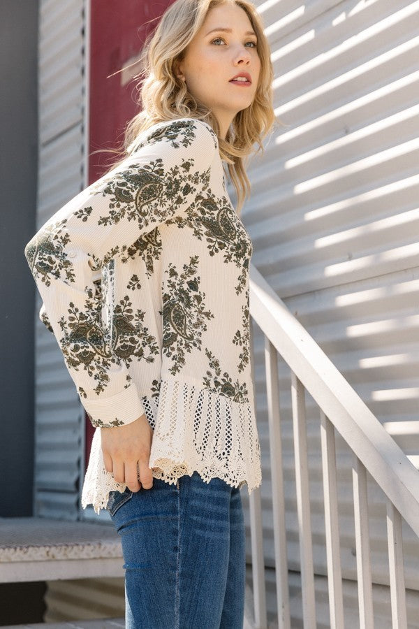 Olive and Ivory Button Up Lace Peplum Shirt