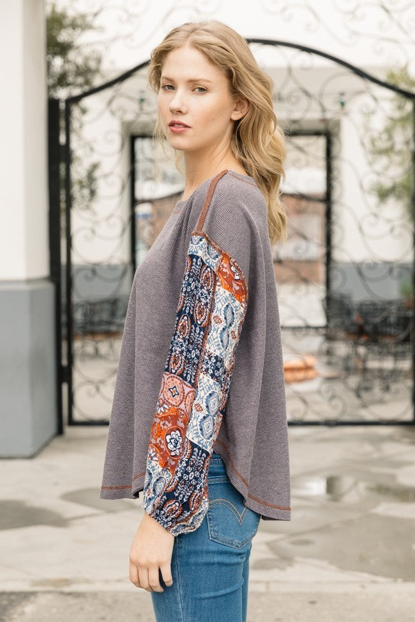 Patched Print Long Sleeve Thermal Top