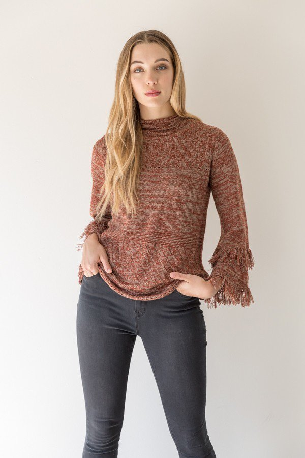 Bell Sleeve W/ Fringe Sweater
