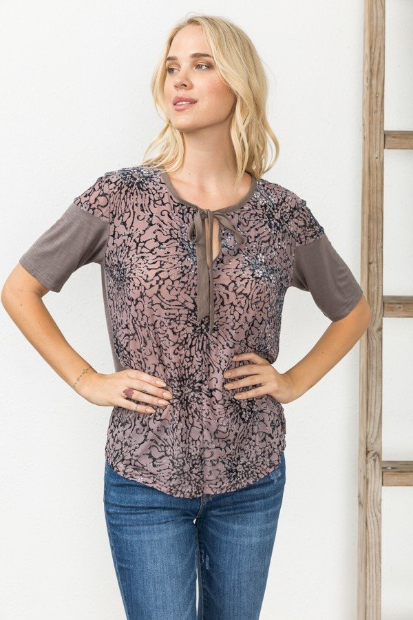 Burn Out Velvet Print Top
