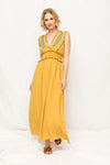 Mustard Embroidered Sun Dress
