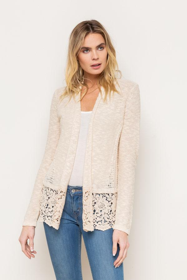 Beige Lace Trimmed Cardigan