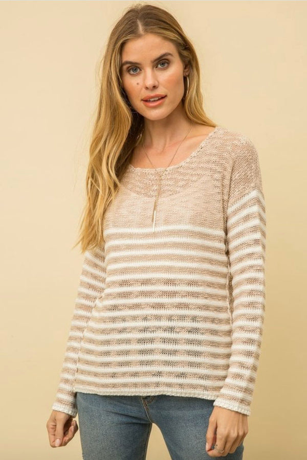 Terra Cotta Natalia Beige Striped Knit Sweater