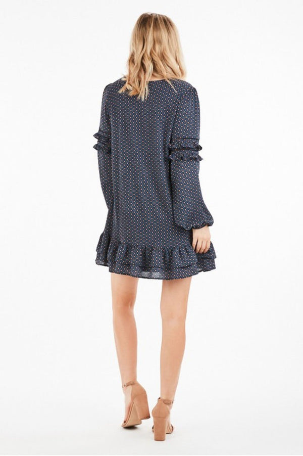 Navy Patterned Shift Dress Terra Cotta