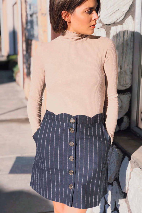 Navy Pin Stripe Scalloped Skirt Terra Cotta
