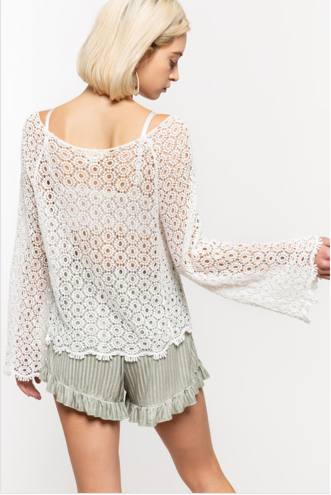 Ivory Floral Crochet Top