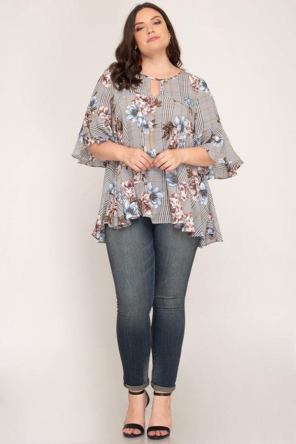 Curvy Woven Floral and Plaid Blouse - Terra Cotta