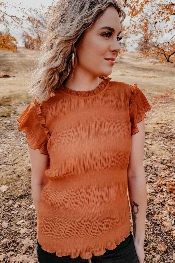 Pumpkin Mock Neck Blouse Terra Cotta