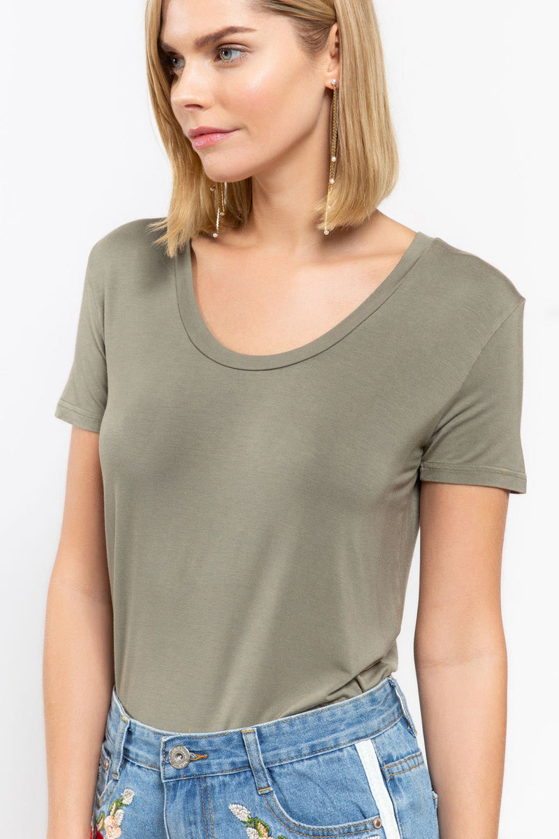 Olive Super Soft Stretch Short Sleeve Scoop Neck Tee