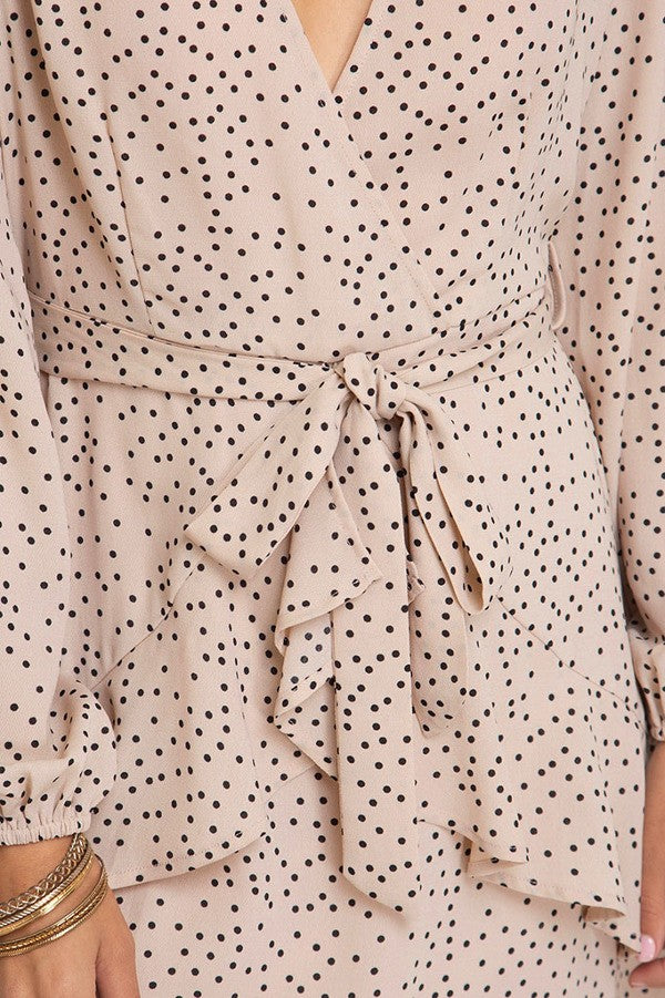 Blush Long Sleeve Polka Dot Dress