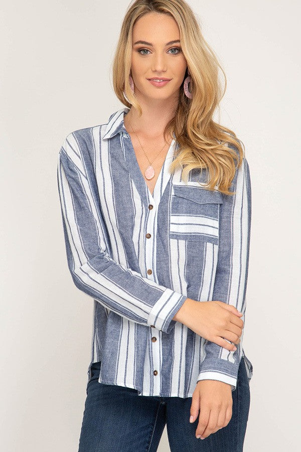 Long Sleeve Navy Striped Top