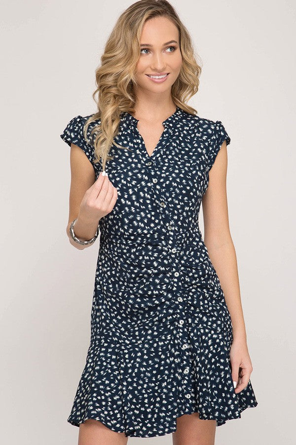 Navy Asymmetrical Flounce Dress