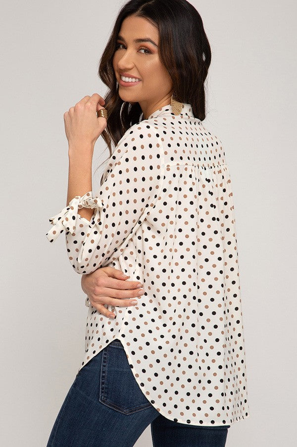 Neutral Polka Dot Tie Sleeve Blouse