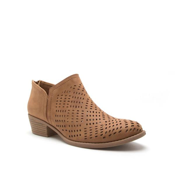 Sochi Camel Cutout Ankle Booties - Terra Cotta