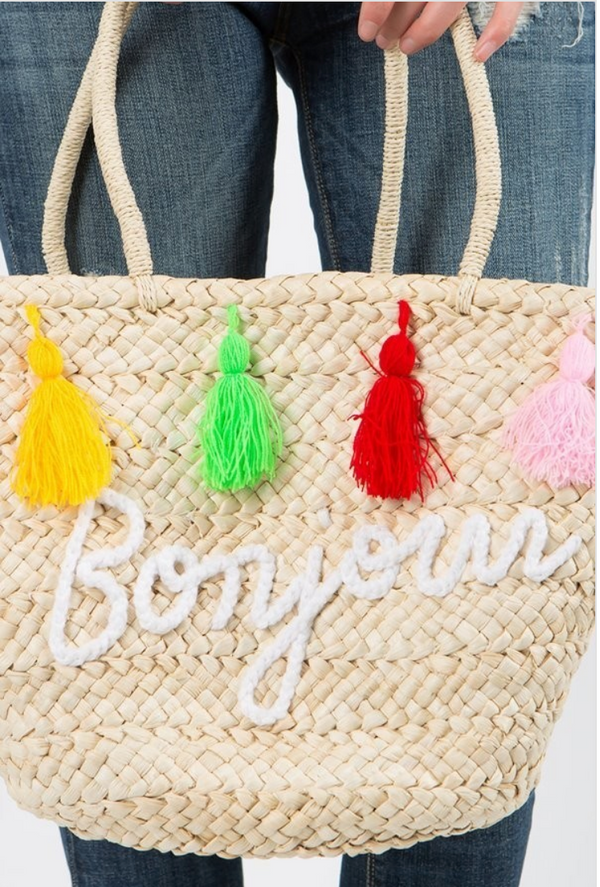 Bonjour Beach Tote/Basket with Tassels - Terra Cotta