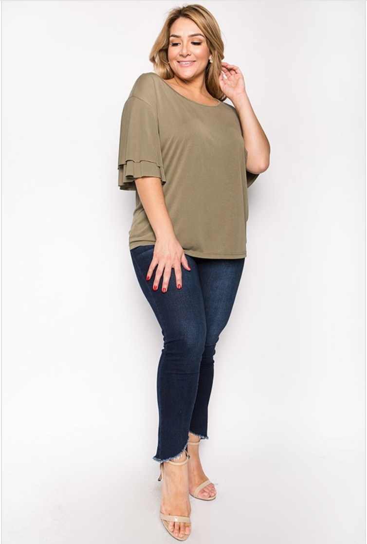 Plus Army Green Ruffle Sleeve Jersey Top
