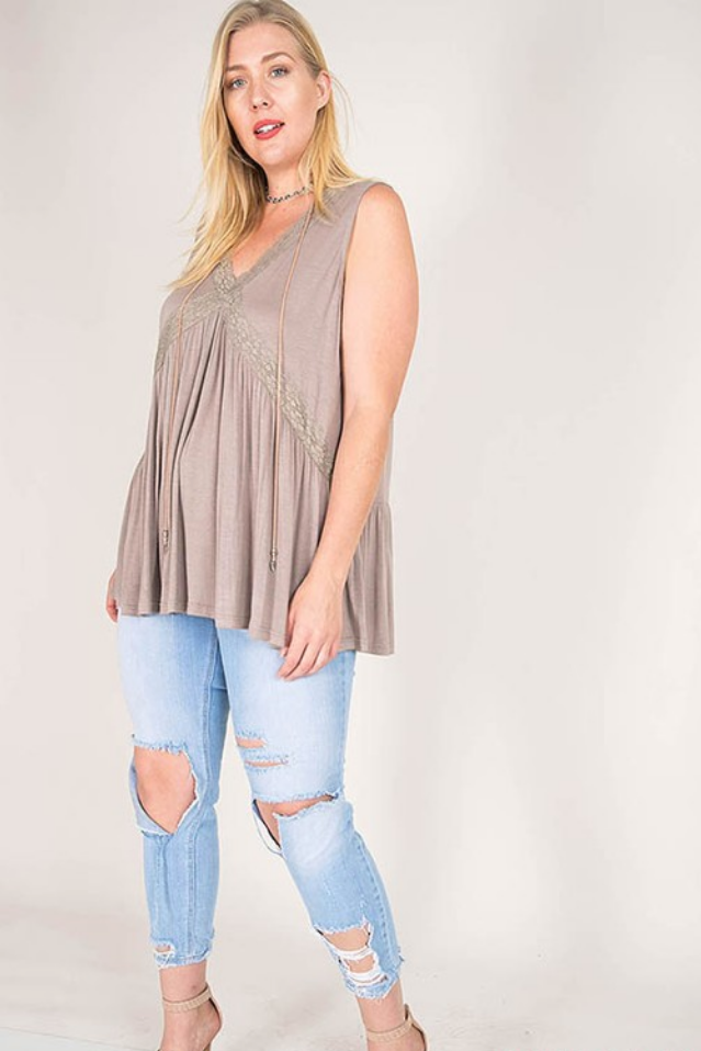 Plus Lace Ruffle Tank