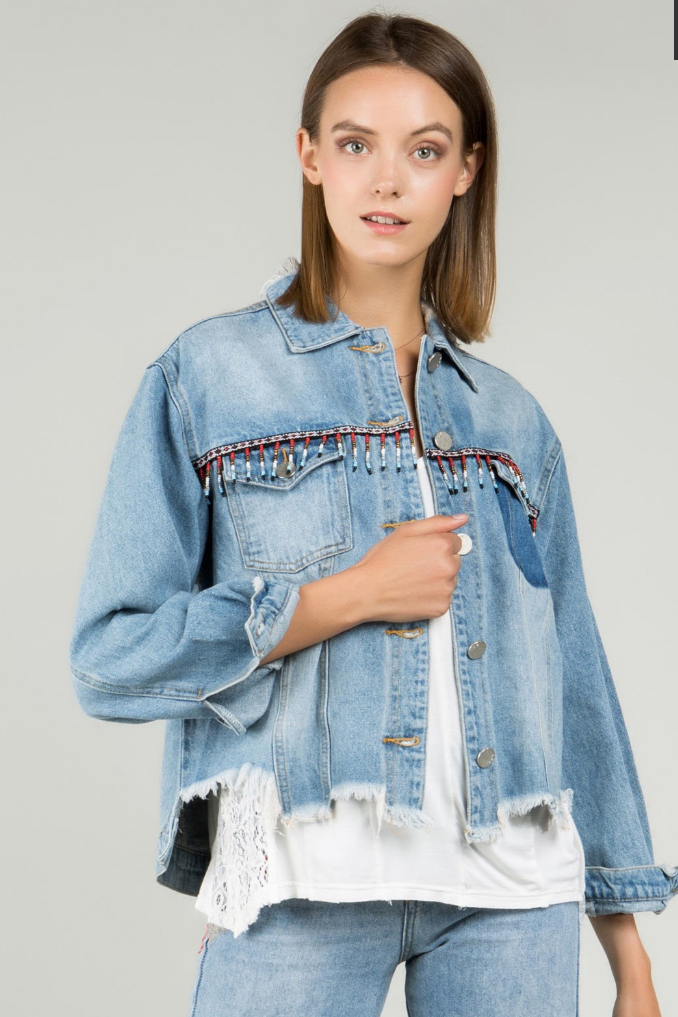 Aztec Beaded Detail Distressed Boxy Denim Jacket