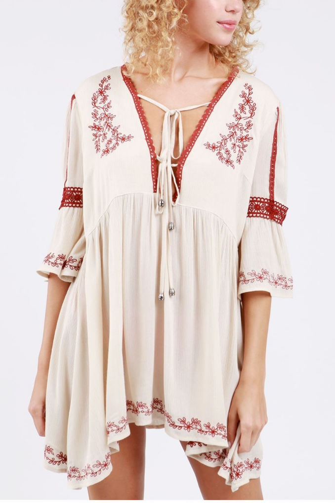 Floral Embroidery Babydoll Tunic