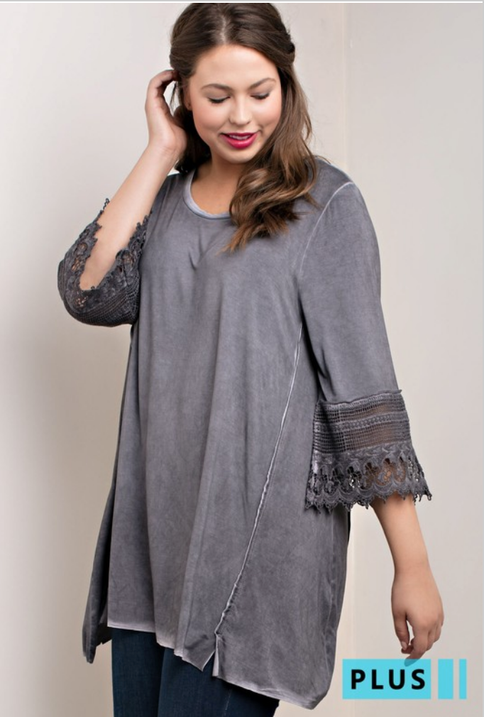 Grey Oil Washed Tunic Top with Lace Sleeves