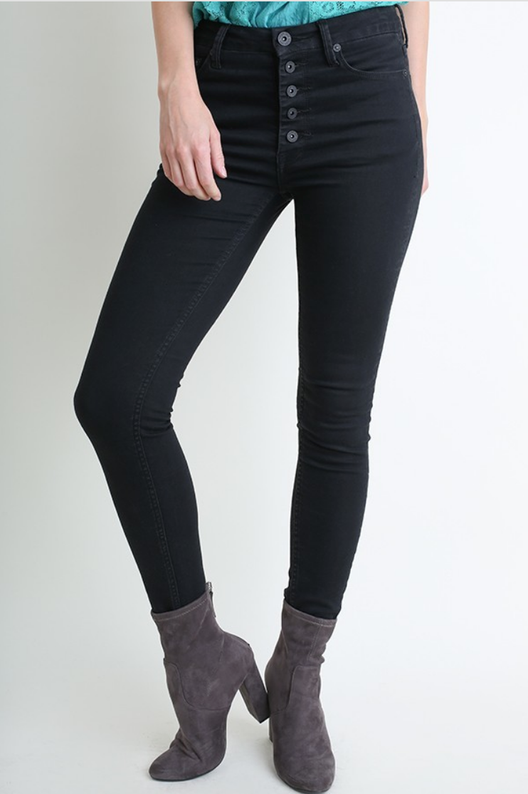 Black Stretch 5 Pocket High Rise Skinny Jean with Button Front Closure