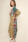 Sage Mix Floral Bell Sleeve Button Front Maxi Dress