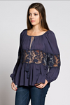 Black Sheer Tie-Front Peasant Top with Lace
