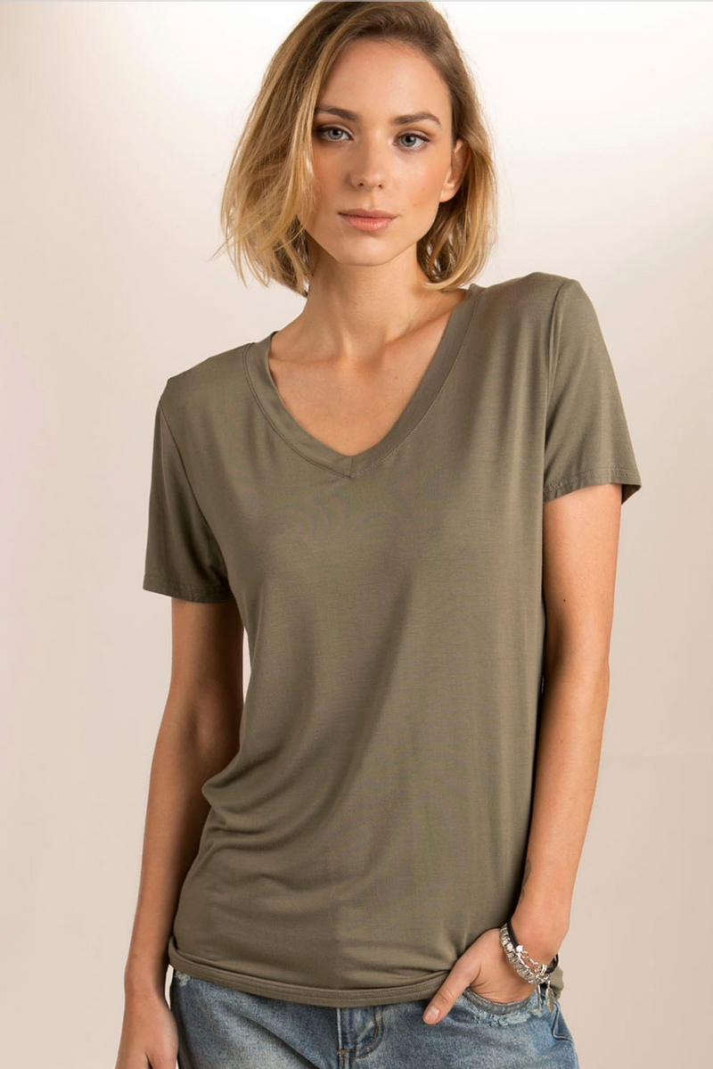 Super Soft Stretch Short Sleeve V Neck Tee