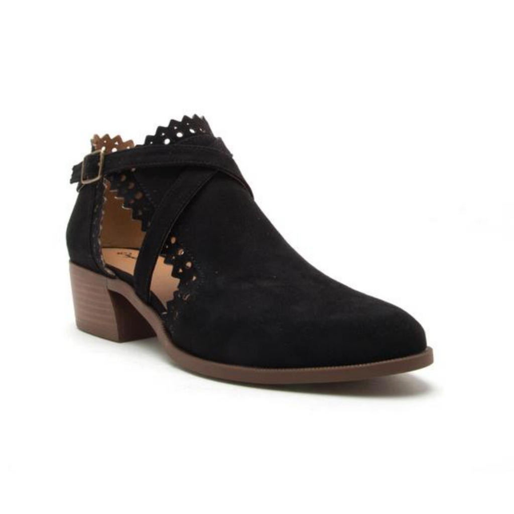 Rager Black Suede Cutout Bootie