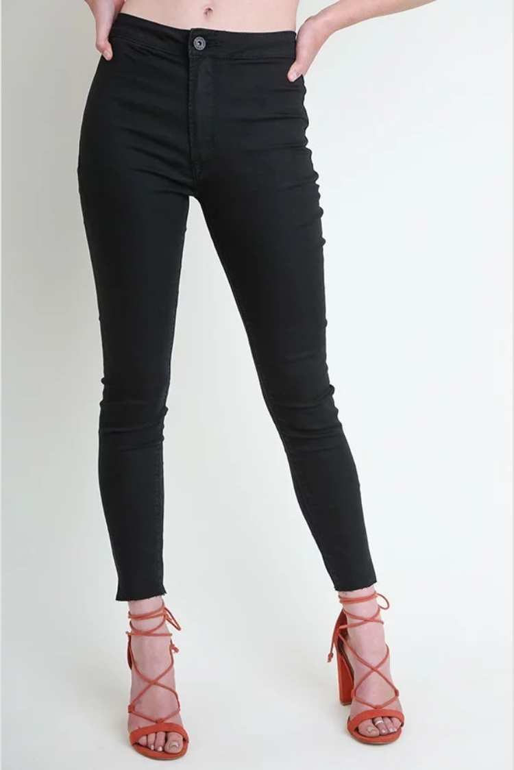 High Rise Stretch Jeggings with Back Pockets and Raw Hems