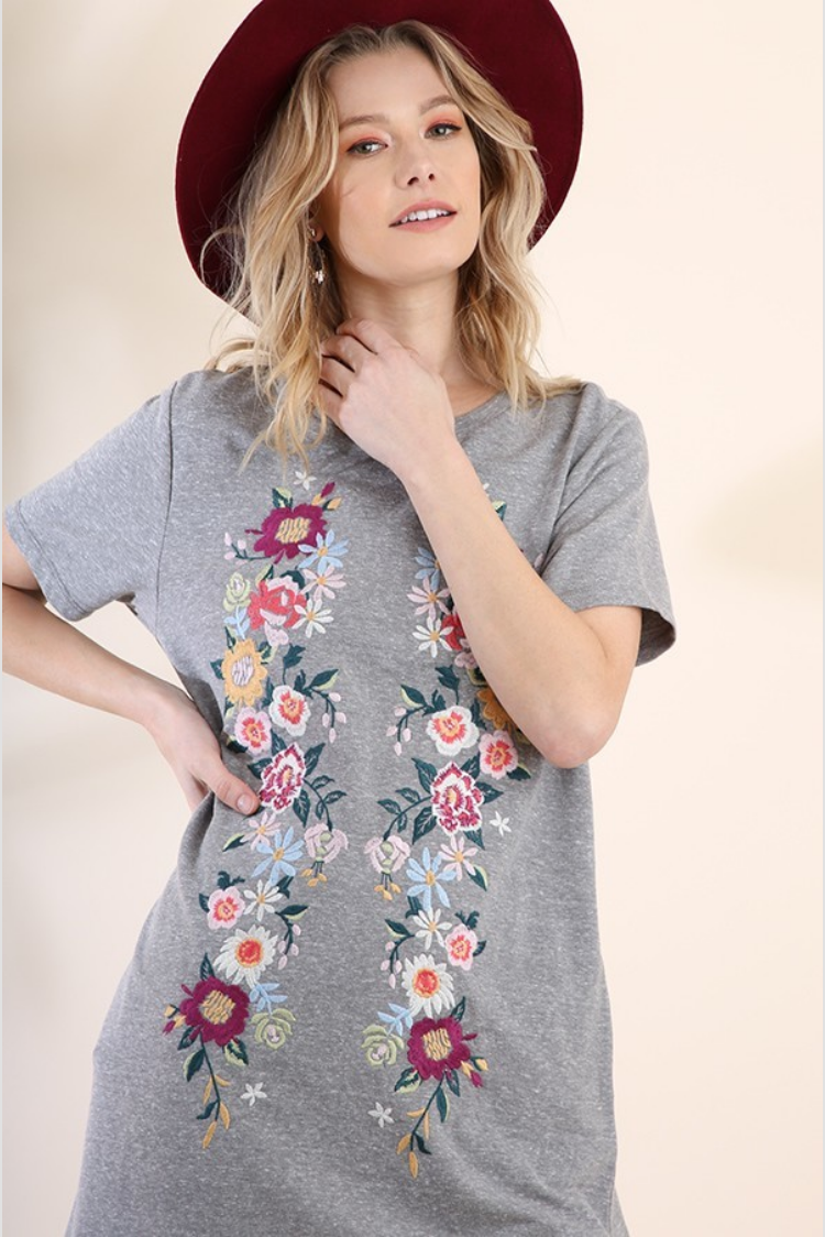 Grey Floral Embroidered Short Sleeve Pocket Tee Dress