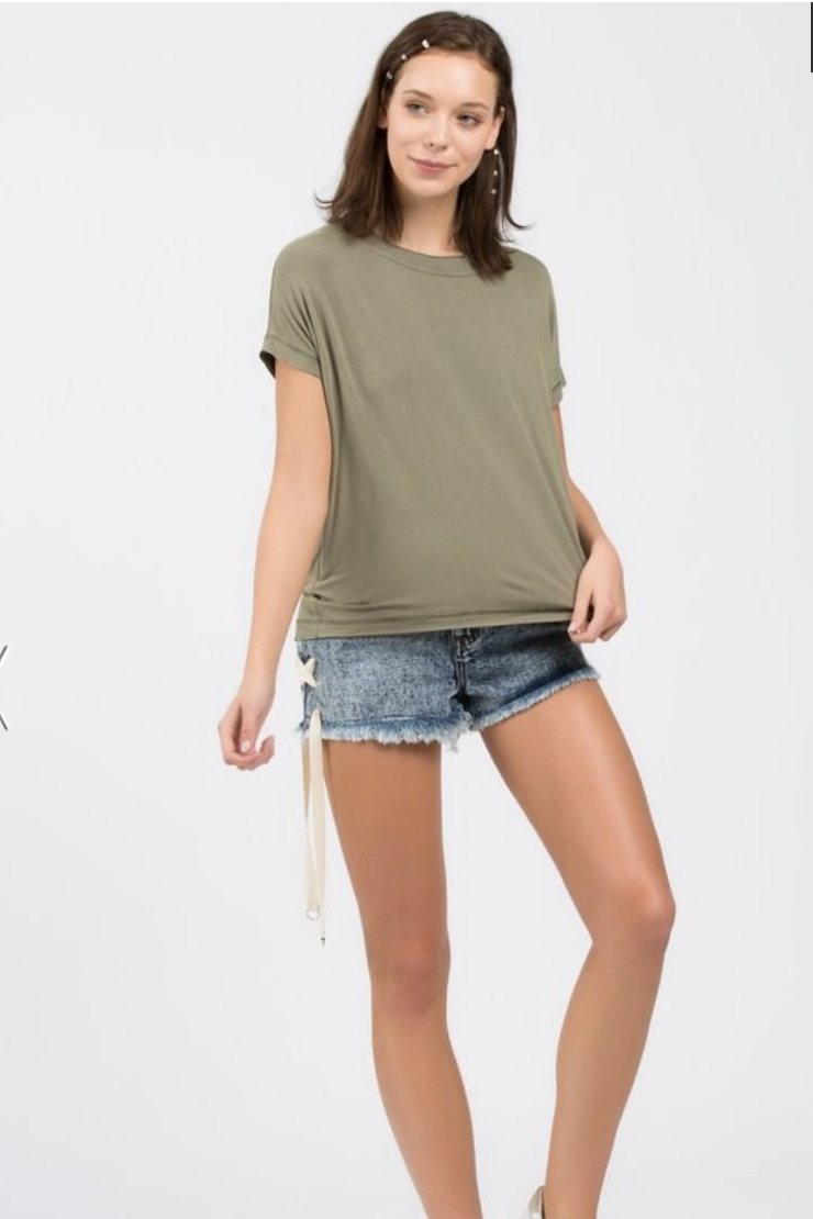Olive Green Super Soft Boxy Tee